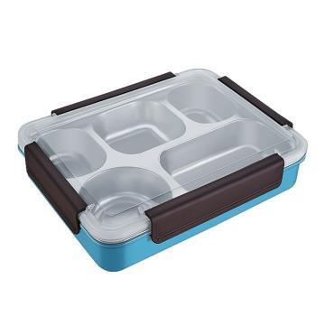 诺派(NUOPAI) C6244,大号饭盒,304不锈钢大容量五分格隔热防烫餐盒,保温便当盒, (颜色随机) 1.3L