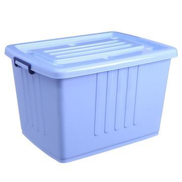 西域推荐 蓝色带盖PP整理箱,外尺寸:61*43*37cm,容积:100L,载重:20KG,VF003