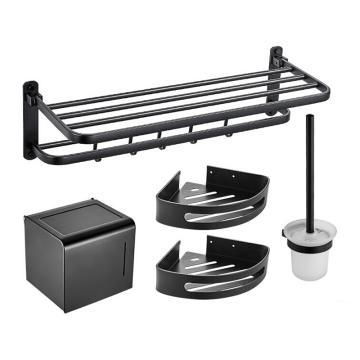 九牧 太空铝哑黑5件套,优质铝浴室置物架挂件套餐 黑色卫生间毛巾架壁挂式,9394155-LE-1