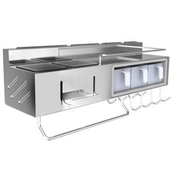 九牧 304不锈钢厨房置物架,铝合金厨房置物架多功能壁挂收纳挂件厨具用品调料架子,94228-AB-1