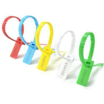 西域推荐 方形带齿塑料封条,带齿,蓝色,总长338mm,带编码,材质PP,100条/包