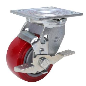 """易得力 轮径4""""载重350kg平板式万向侧刹高强度聚氨酯(TPU)轮 73124C-734-86/C"""