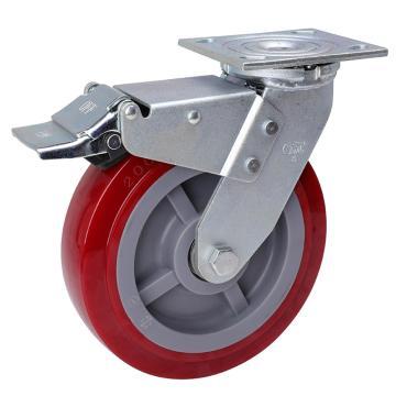 易得力(EDL) 平顶刹车高强度聚氨酯(TPU)脚轮,脚轮重型8寸450kg,73128L-738-86