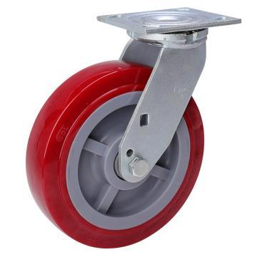 易得力(EDL) 平顶万向高强度聚氨酯(TPU)脚轮,脚轮重型8寸450kg,73118-738-86