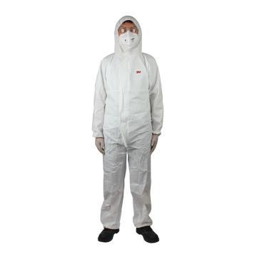 3M 欧标5级防化服,4510-L,白色带帽连体防护服