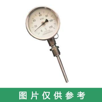 西域推荐 双金属温度计 WSS-581 0-100度 精度1.0 M27*2 L=300MM 配套整体套管