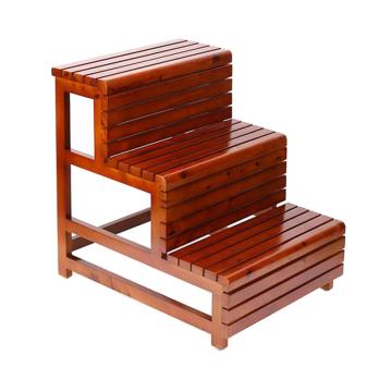 砧木 三层楼梯凳,柏木50长栗色三色凳