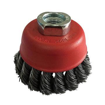 库兰碗形钢丝轮,125mm扭碗,钢丝/0.5mm 丝径/M14 /哑光喷红/RPM6500,1个/盒