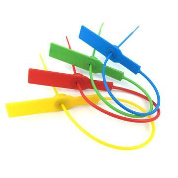 西域推荐 小圆口塑料封条物流封条,圆口带钢片,红色,总长290mm,带编码,材质PP,100条/包
