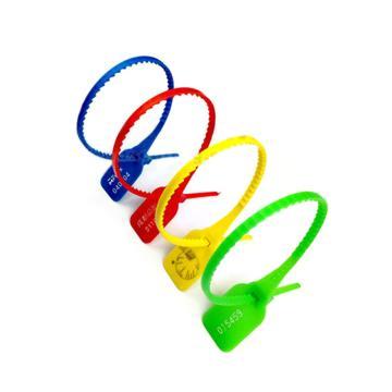 西域推荐 大圆口塑料封条物流封条,带齿,红色,总长343mm,带编码,材质PP,100条/包