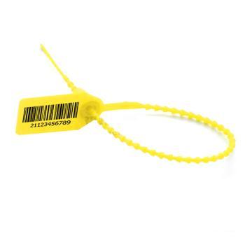 西域推荐 串珠塑料封条物流封条,串珠,黄色,总长250mm,带编码,材质PP,100条/包