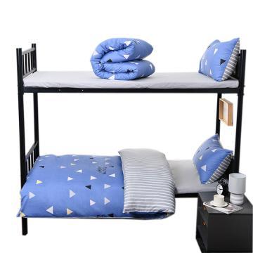 隽优 宿舍单人床品三件套,纯棉简约素色 被套1.5*2M 适合0.9/1.2M床 随机花色