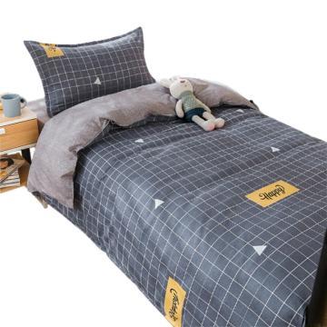 隽优 宿舍单人床品三件套,水洗棉印花纯色AB版 被套1.5*2M 适合0.9/1.2M床 随机花色