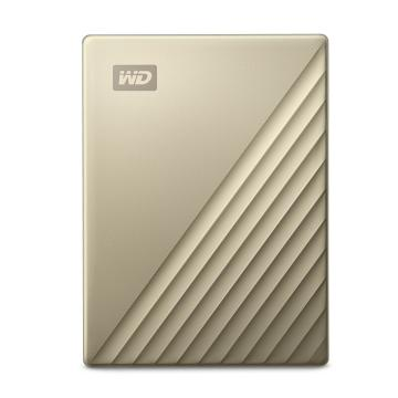 西部数据(WD) 2TB Type-C 移动硬盘 My Passport Ultra2.5英寸 金色 高速 便携 密码保护 兼容Mac