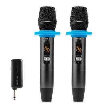 漫步者 IU2 无线便携麦克风 U段可调频无线话筒 带接收器 户外K歌 家庭KTV 演唱会会议主持 黑色