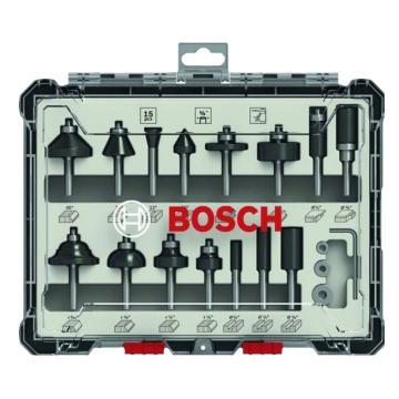 博世Bosch 木工铣刀15件套装 ¼柄,2607017473