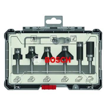 博世Bosch 木工铣刀 修边刀圆底刀6件套装 ¼柄,2607017470