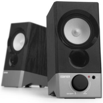 步者 R19U 木质纯音2.0迷你桌面音响 电脑音箱 黑色