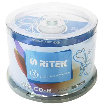 铼德RITEK 台产 黑胶音乐CD刻录盘 车载无损 CD-R 700MB 空白光盘 50片 碟片 铼德五彩CD50片桶装
