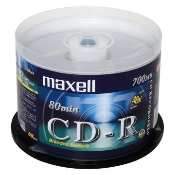 麦克赛尔(maxell)CD-R光盘 刻录光盘 光碟 空白光盘 48速700M 银盘桶装50片