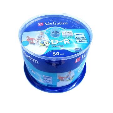 威宝Verbatim 52速 CD 可打印空白光盘 50片桶装 700M 刻录碟片 63307