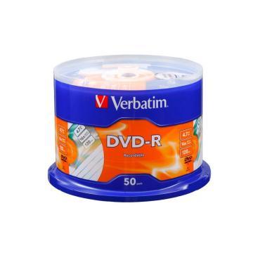 威宝verbatim 雾银龙DVD-R 4.7G 16X 50片桶装 刻录碟片63506