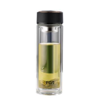 富光 格雅玻璃杯,WFB1070-320双层玻璃杯泡茶杯320ML 黑色