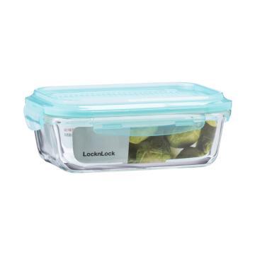 乐扣乐扣叠扣系列玻璃保鲜盒,上班族微波炉冰箱保鲜盒饭盒便当盒 LLG990MIT 610ml 蓝色