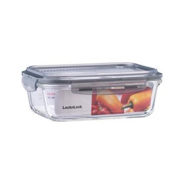 乐扣乐扣叠扣系列玻璃保鲜盒,上班族微波炉冰箱保鲜盒饭盒便当盒 LLG990GRY 610ml 灰色