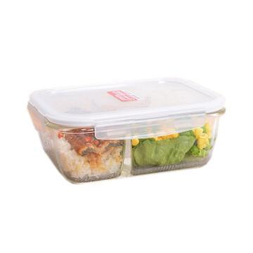 乐扣乐扣分隔玻璃保鲜盒 ,微波炉专用饭盒便当盒 LLG447C-CHS长形1020ml分隔