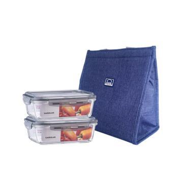 乐扣乐扣耐热玻璃保鲜盒便当包套装(2件装),上班族便当盒两件套 LLG990SJ