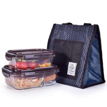 乐扣乐扣耐热玻璃保鲜盒便当包套装(2件装),LLG991CS102 (2件装610ml+930ml)