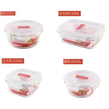 乐扣乐扣耐热玻璃保鲜盒四件套,微波炉饭盒便当盒餐盒LLG861S002-CHS (950+630+380+300ml)