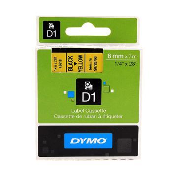 DYMO 商用D1电子标签带,SC43618(7m/卷)6毫米D1标签带 (黄底/黑字) 单位:卷