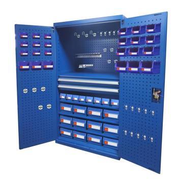 Raxwell 蓝色挂板型置物柜(四层板双抽),尺寸(长*宽*高mm):1000*600*1800 含零件盒和挂钩
