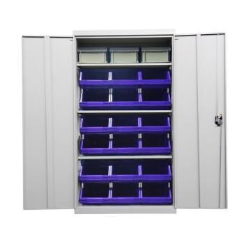 Raxwell 灰色置物柜(三层板),尺寸(长*宽*高mm):1000*500*1800,含零件盒和周转箱