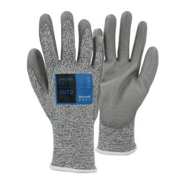 "Raxwell HPPE3级防切割手套10""/XL,PU涂层,13针,1副/袋,120袋/箱"